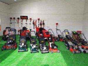 lawn mowers on grass