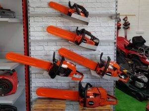 chainsaws on rack